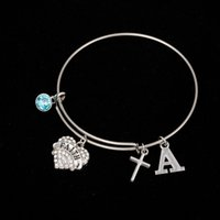 Myshape Cool Fashion Stainless Steel DIY encantos Pulseira Diâmetro 70mm Blue Crystal Heart Faith Letter A Cross Pendant Bangle Wristbands
