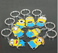 Wholesale Despicable Keychains - Free Shipping Movie Cartoon Despicable Me Key Chain Ring Holder Cute Small Minions Figure Keychain Keyring Pendant