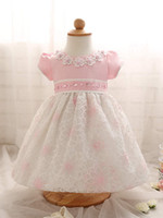 Wholesale Newborn Chinese Clothing - High-grade Newborn Baby Girl Clothes New brand Flower With Peals Princess Wedding Gown Dress Toddler Girls Kids Children Clothes