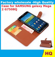 Wholesale Galaxy Mega Leather - Leather Case for SAMSUNG galaxy Mega 2 G7508Q holster Wallet Cases Folio Book Cover with Kickstand Credit Card Holder, Cash Clip 30X DHL