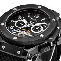 relógio da semana venda por atacado-JARAGAR Black Men Tourbillion Mecânica Dive Inoxidável Luxo Swiss Mens Relógio De Pulso Do Esporte Data semana 24 horas de Exibição relógios pulseira de Silicone