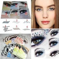 Wholesale Eyeliner Decorations - Eye Rock DIY EYE MAKEUP 3D EYE TATTOOS Crystal Decoration Party Makeup Eye Shadow Sticker Eyeliner Tattoo 6 Types