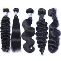 doğal renk brezilya kıvırcık saç toptan satış-Brezilyalı Perulu Malezya Hint Virgin İnsan Saç Dokuma Paketler Vücut Dalga Düz Gevşek Derin Dalga Kinky Kıvırcık Remy Saç Doğal Renk