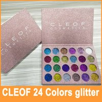 Wholesale Flash Color Palette - In Stock 2017 New Brand CLEOF Cosmetics Flash Eye Shadow Palette Glitter Powder 24 Color Makeup Eye Shadow Palette DHL Free Shipping