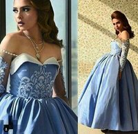 Wholesale Orange Sweetheart Neckline Dresses - 2017 Blue Prom Dresses Ball Gown Off the Shoulder Beaded Sweetheart Neckline Illusion Long Sleeves Ankle Length Taffeta Evening Gowns