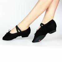 Wholesale Dance Teacher Shoes - Female teacher canvas shoes with soft bottom with heel dance shoes dance practice shoes ballet shoes