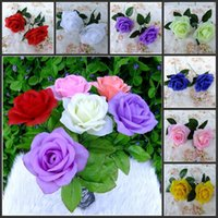 Cheap Purple Home Furnishings Top Quality New Artificial Rose Silk Flower Beautiful Wedding Bouquet Home