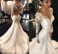 Wholesale Long Sleeve Body Tulle - 2016 Jewel Neck Lace Wedding Dresses Long Sleeves Lace Appliques Chic Vestidos De Noiva Ruched Tulle Floor Length Body-con Sexy Bridal Gowns