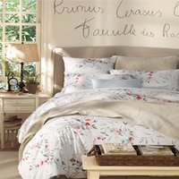 Wholesale Wholesale French Beds - Home textile New Elegant French style 100% luxury Egyptian cotton 4pcs Bedding sets flowers and birds queen king size Duvet cover Pillowcas