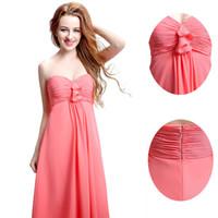 Wholesale Watermelon Formal Dress Cheap - 2016 Cheap Blush Chiffon Bridesmaid Dresses Sweetheart Evening Plus Size Dresses Watermelon Formal Homecoming Dress Country Style LX121