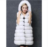 Wholesale Vest Fake Fur - Faux Fur Coat Women Winter New Fashion Slims Super Long Fake Fur Vests With Hooded Furry Vest Female Abrigos Mujer 4 Color