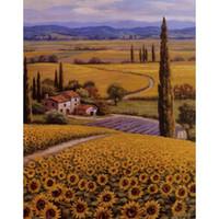 Wholesale Garden Oil Paintings - Handmade Sung Kim Garden paintings Sunflower Field modern art Landscapes oil on canvas for living room decor