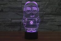 Wholesale Minion Lights - 2017 New Style Minions 3D Optical Illusion Light 9 LEDs Acrylic Light Panel DC 5V Factory Wholesale