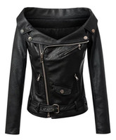 Wholesale Leather Sexy Jackets Coats Women - European brand design womens sexy strapless leather jacket, black motorcycle PU the leather coat fashion, new winter woman short leather clo