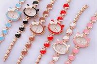 montres de filles mignonnes achat en gros de-2016 Vente Chaude Marque Bonjour Kitty Bande Dessinée montres Femmes enfants hellokitty montres mignon filles designer enfants Quartz Montre-Bracelet