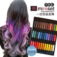 Dying Hot Sale 36 Couleurs Cheveux Craie / Pen Facile Dye Couleurs temporaires non-toxiques Cheveux Craie pastels tendres Kit Couleur des cheveux Crayons