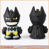 Wholesale Cool Action Movies - Superhero Batman Led Keychain Flashlight Pendant Key Chain Ring Cute Action Figure Keyrings Keychains Cool Gift