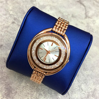 Wholesale Sexy Watches - Hot sale Luxury Women watch Rose Gold Stainless steel Lady wristwatch Bracelet Dress watch Sexy Jewelry buckle Multi colors Rolling Diamonds
