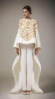 arabische freie kleider großhandel-2019 Ashi Studio Gold Stickerei Abendkleider Mit Langen Ärmeln A-Linie Hosen Kaftan Satin Arabisch Formale Prom Party Kleider Dubai (Freie Hosen)