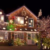 luz láser roja de jardín al por mayor-Luces de navidad al aire libre jardín láser 8 Patrones rojo verde a prueba de agua al aire libre navidad láser proyector proyector jardín luz