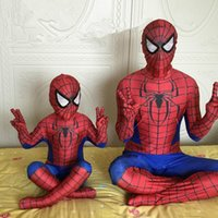Wholesale Hot Superhero Costumes - 2017 Hot Sale Kids  Adult Spiderman Costume 3D Original Movie Halloween Cosplay Boys Men's Spider Superhero Suit High Quatity