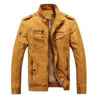 patrones de chaqueta acolchada al por mayor-2018 Otoño Moda Veste Cuir Homme Causal Chaqueta Hombres Blouson Bajar Collar jaqueta de couro Hombres Chaqueta Abrigos