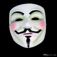 Wholesale Horror Guy - 500Pcs Vendetta mask anonymous mask of Guy Fawkes Halloween fancy dress costume white yellow 2 colors