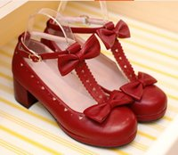 Wholesale Sweet Lolita Shoes - 2016 hot new Sweet T Cutout Bow Strap Round Toe Casual Thick Heel Single Shoes.Cosplay and Lolita Shoes for Woman and Girl