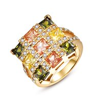 Wholesale Gem Ring 14k - Women Ring Yellow Gold Plated Bling Peridot Morganite Citrine Gems Christmas Gifts Free Shipping Size 8 GPR452