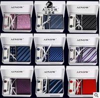 Wholesale Wholes Sale Weave - whole sale 16 colors neck tie set necktie cufflinks men's ties polyester ascot hankies striped tower Pocket square drop shipping