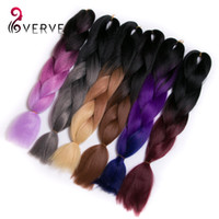Wholesale Wholesale Synthetic African Hair - VERVES synthetic braiding hair colors 100g bundle multi colored hairpieces african hair braids for woman xpression two tone