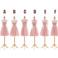 Wholesale Ordering Bridesmaid Dresses - Pleated Short Chiffon Bridesmaid Dress Light Pink 2018 Elegant Party Dress For Wedding Lace Up 6 Style Mixed Order