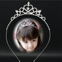Wholesale Wholesale Diamond Hair Bows - Hot Girls Luxury Shine Diamond Crown Headbands Baby Girl Bling Bling Hair Accessories Christmas Party Gift For Children Fast Shipping