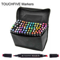 Wholesale paint marker pens - Touch Brush markers pen professional 2 heads painted touch 5th markers pens free bag designs Drawing painting art pens brush 168 colors gift