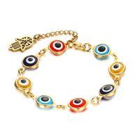 Wholesale Evil Eye Glass Bead - 8MM Hamsa Hand Colorful Evil Eye Murano Glass Beads Bracelet