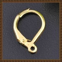 Wholesale Diy Pin Accessories - DIY jewelry accessories ear wire hook ear clasps earring clips 18K gold COLOR 16x10mm 260pcs LOT