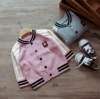 Wholesale Kids Fashion Wear Boys - Fashion Children Outwear Baby Kids Jackets Boys Coats Soft Cotton Boys Girls Sweater Cardigans Baseball Uniform Little Devil Tops Wear 944 8