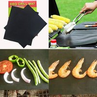 Wholesale Bbq Ceramic Grill - Wholesale- PTFE Non-stick BBQ Grill Mat Barbecue Baking Liners Reusable Teflon Cooking Sheets 33x40cm Cooking Tool