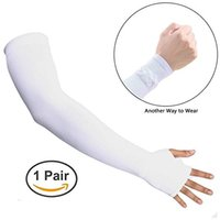 Wholesale Long Sleeve Gloves For Men - White Long Stretchy Fingerless Skin Protection Arm Sleeve Gloves Unisex UV Protection Cooler Band Glove for Outdoor Activities Cycling
