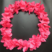 10pcs Dark Pink Hawaiian Leis Jumbo Colliers Festive Party Garland Silk Flower Hawaii leis Fancy Dress Party Hawaii Beach Fun