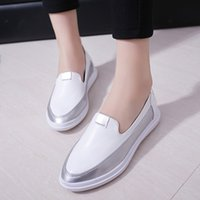 Wholesale Wholesale Dress Loafers - Wholesale- 2017 Spring Woman Loafers Patchwork Leather Slip on Shoes White Woman Oxford Shoes Pointed Toe Creepers Zapatos Mujer 3427