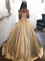 Wholesale Gold Satin Evening Gowns - Hot Sale Gold Princess Evening Dresses Appliques Off Shoulder Ball Prom Gowns Satin Quinceanera Dress Sweep Train Custom Made