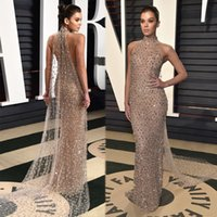 Wholesale Jacket Dresses High Necklines - Glamrous Halter Neckline Red Carpet Celebrity Dresses Gorgeous Illusion Crystal Beaded Sheath Evening Dresses With Cape Formal Evening Gowns