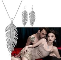 Wholesale New Model Necklace - New Bohemian crystal earrings +necklace 2 piece Jewelry Sets elegant women models gift of love wings
