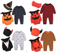 Wholesale French Girls Clothes - Halloween and Christmas Devil vampire pumpkin Baby Wings Clothing sets Baby Romper Wizard Devil hat hat