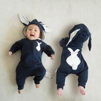 sombreros recién nacidos orejas al por mayor-conejo pijamas ropa mameluco del niño animal mono de algodón lindo bebé recién nacido encapuchado largas orejas sombrero de la ropa del cabrito bodies trajes mono invierno