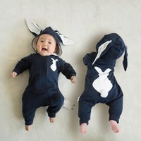 Wholesale Rabbit Onesies - Cute Newborn Baby animal jumpsuit kid romper clothing pajamas cotton rabbit hooded long ears hat kid clothing onesies winter bodysuit suits