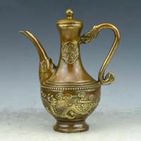 Wholesale Antique Chinese Tea - Ancient Chinese Bronze Gilt Dragon Teapot Tea Pot Kettle Bottle Flagon Statue home decoration