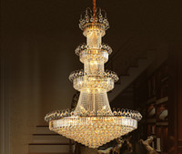 Wholesale Large Iron Pendant Light - 2016 Luxury K9 crystal chandelier lamp Large chandelier K9 Golden crystal Hotel Hall Light LED Crystal Pendant 100% Guaranteed