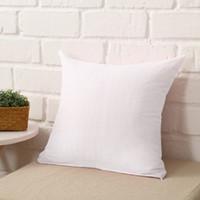 Wholesale White Sofa Pillows - 10pcs 45 * 45CM Home Sofa Throw Pillowcase Pure Color Polyester White Pillow Cover Cushion Cover Pillow Case Blank christmas Decor Gift